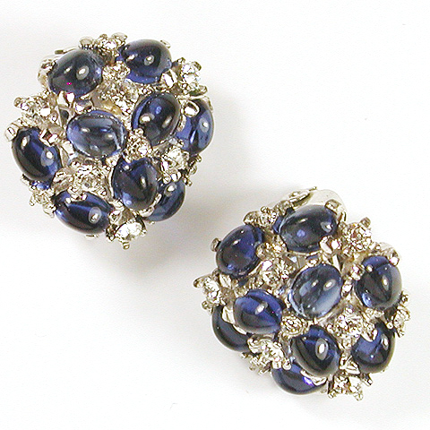 Boucher Pave and Sapphire Cabochons Button Clip Earrings
