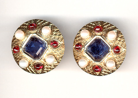 Boucher Gold and Sapphire Button Clip Earrings