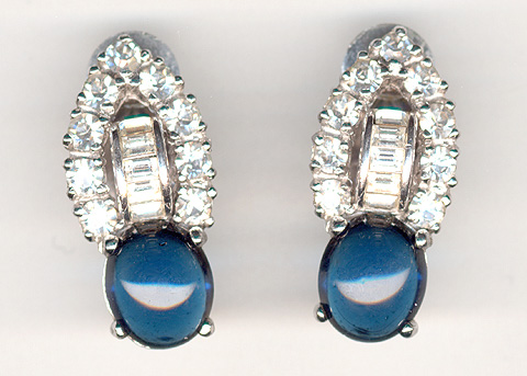 Pennino Sapphire Cabochon and Baguettes Clip Earrings
