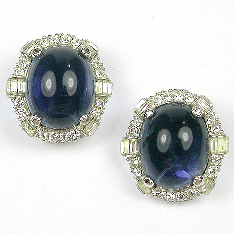 Ciner Pave Baguettes and Sapphire Cabochon Button Clip Earrings